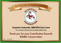 SCORPION Appreciates BKSDA East Java for Seizure of Thousands of Birds from East Java Port (December 24, 2015)